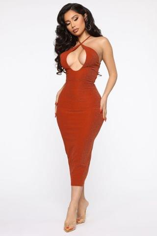 WOMEN Soul Searching Metallic Midi Dress - Rust