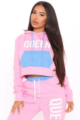WOMEN Queen Color Block Hoodie - Pink/combo