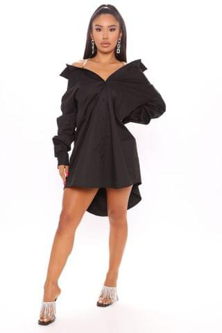 WOMEN Professional Shine Shirt Dress - Black