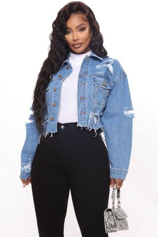 WOMEN All Torn Up Crop Denim Jacket - Medium Wash