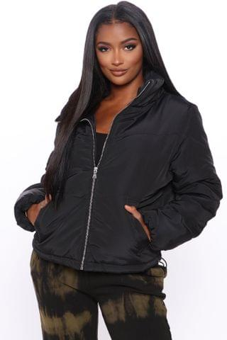 WOMEN Work Your Angles Chevron Puffer Jacket - Black