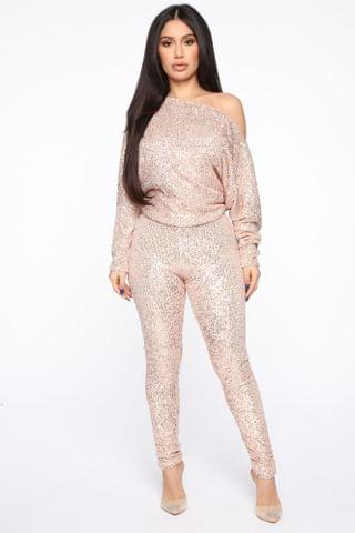 WOMEN Sequins To Everything Pant Set - Gold