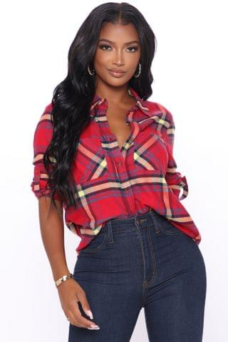 WOMEN Square Are You Now Plaid Top - Red
