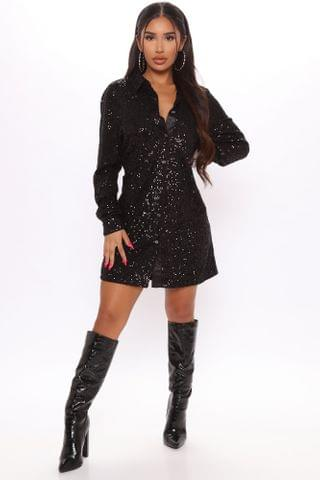 WOMEN Kiss At Midnight Sequin Shirt Dress - Black