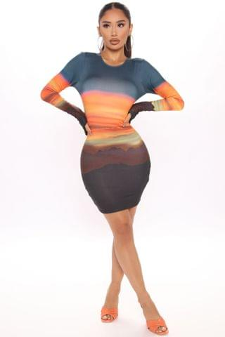 WOMEN Desert Sunset Mini Dress - Multi Color