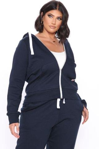 WOMEN Relaxed Vibe Zip Up Jacket - Navy