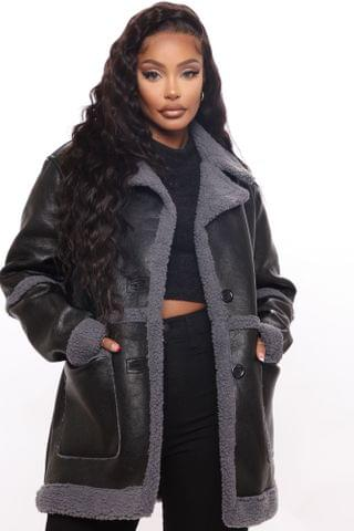 WOMEN Are You Sherpa Faux Leather Jacket - Black/Grey