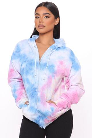 WOMEN Pastel Marble Zip Up Hoodie - Multi Color