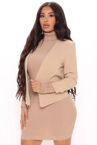 WOMEN Olivia Office Chic Cropped Blazer - Taupe