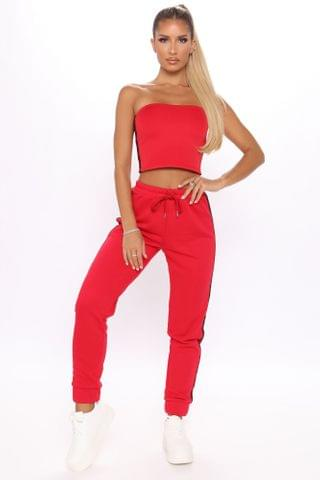WOMEN There She Goes Athletic Jogger Set - Red