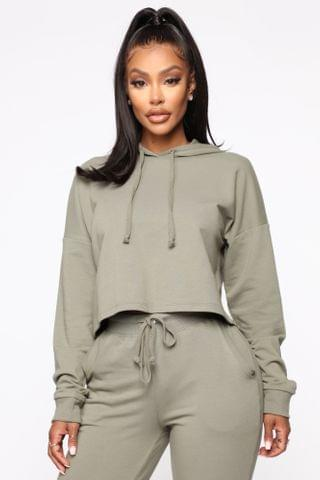 WOMEN Latest And Greatest French Terry Crop Hoodie - Olive