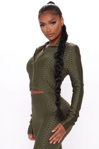 WOMEN The Best Assets Textured Crop Active Jacket - Olive