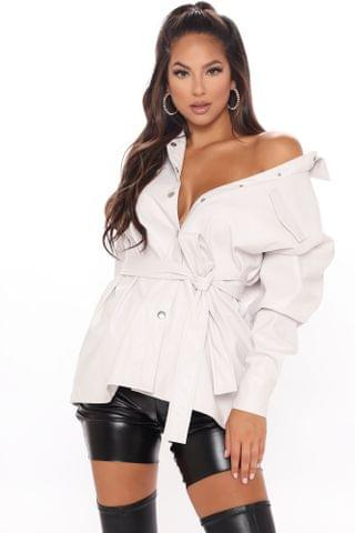 WOMEN Here And Now Faux Leather Top - Off White