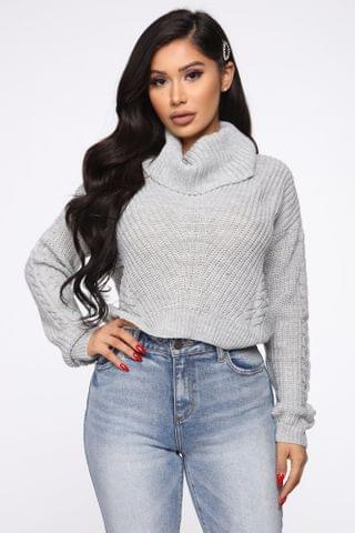 WOMEN Keep On Guessin' Cowl Neck Sweater - Heather Grey