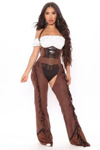 WOMEN Saddle Up Cowgirl 2 Piece Costume Set - Brown/combo