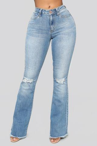 WOMEN Nothing But The Best Flare Jeans - Medium Blue Wash