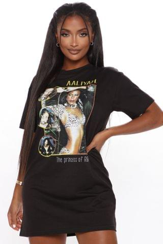 WOMEN Princess Of RNB Aaliyah T Shirt Dress - Black