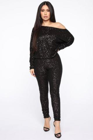WOMEN Sequins To Everything Pant Set - Black