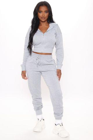 WOMEN Endless Scrolling Zip Up Jacket And Jogger Set - Heathered Grey