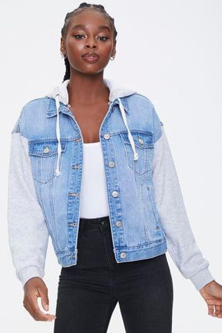 WOMEN Hooded Denim Combo Jacket