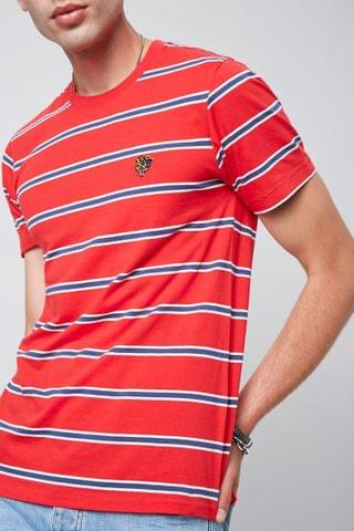 MEN Striped Panther Embroidered Graphic Tee