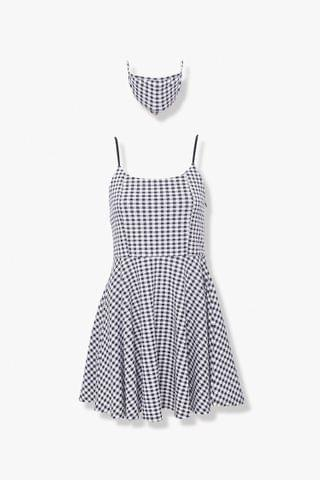 WOMEN Gingham Dress & Face Mask Set
