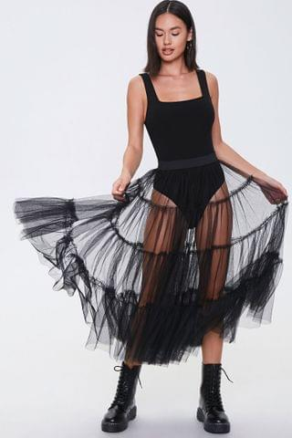 WOMEN Sheer Tiered Midi Skirt