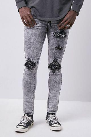 MEN Distressed Bleach Washed Skinny Jeans