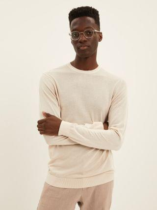 MEN The Cool Touch Crewneck Sweater in Grey Beige
