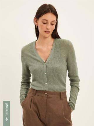 WOMEN Ribbed Knit Cardigan in Silver Green
