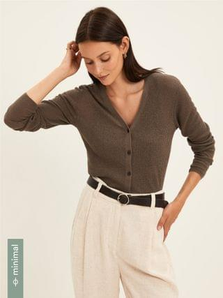 WOMEN Ribbed Knit Cardigan in Brown