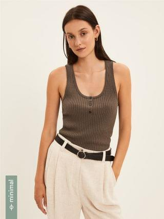 WOMEN Ribbed Knit Tank Sweater in Brown
