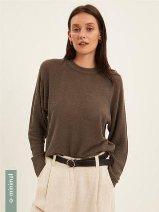 WOMEN Ribbed Knit Sweater in Brown