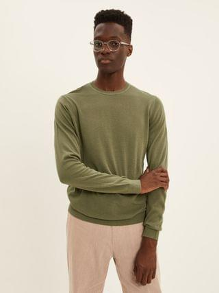 MEN The Cool Touch Crewneck Sweater in Lichen Green