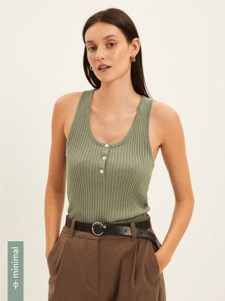 WOMEN Ribbed Knit Tank Sweater in Silver Green