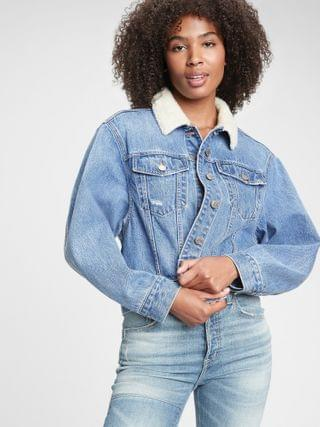 WOMEN Dolman Denim Sherpa Icon Jacket
