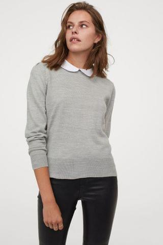 WOMEN Fine-knit Collared Sweater