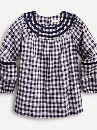 KIDS Girls' eyelet-detail gingham shirt