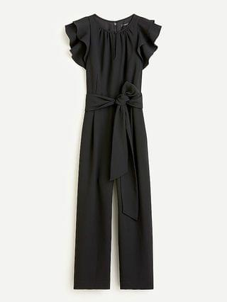 WOMEN Ruffle-sleeve jumpsuit in 365 crepe