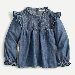 KIDS Girls' ruffle-detail denim shirt