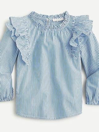 KIDS Girls' ruffle-shoulder shirt in stripe