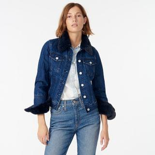 WOMEN Classic denim jacket with faux fur