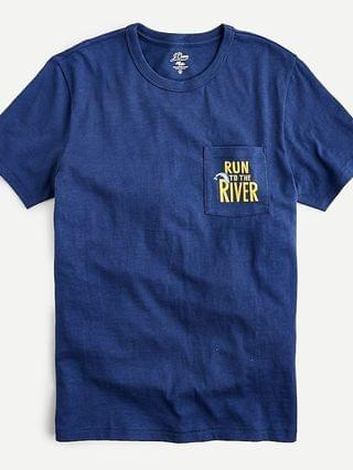 "MEN Slub cotton ""Run to the river"" graphic T-shirt"