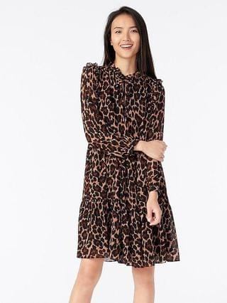 WOMEN Tie-neck tiered dress in leopard crinkle chiffon