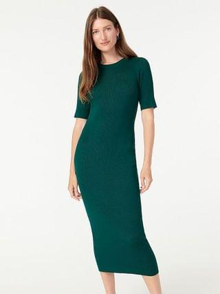 WOMEN Ribbed knit midi dress