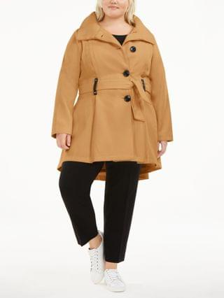 WOMEN Juniors' Plus Size Skirted Belted Coat, Created for Macy's
