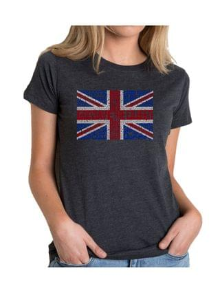 WOMEN Women's Premium Blend T-Shirt with God Save The Queen Word Art