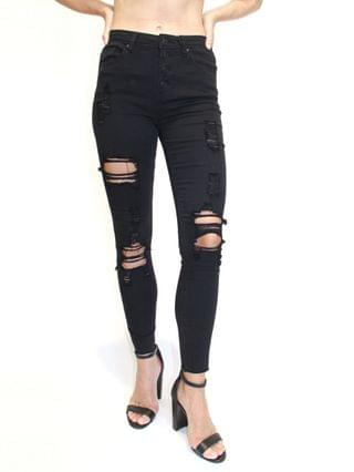 WOMEN Juniors' Destructed High-Rise Skinny Jeans