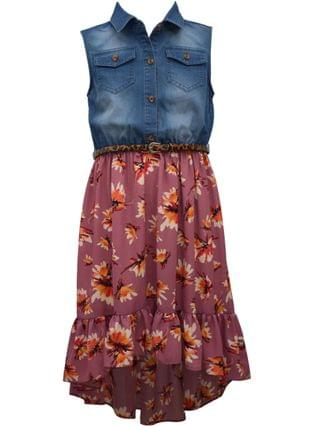 KIDS Big Girl Sleeveless Washed Denim Button Front Shirt Dress With Printed Founced High Low Crepe Skirt
