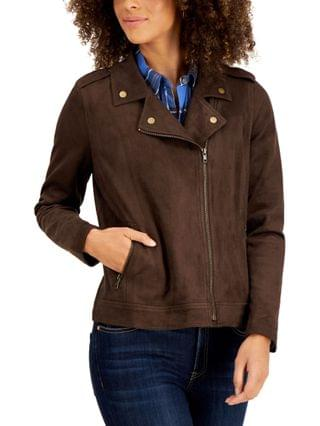WOMEN Faux Suede Moto Jacket, Created for Macy's